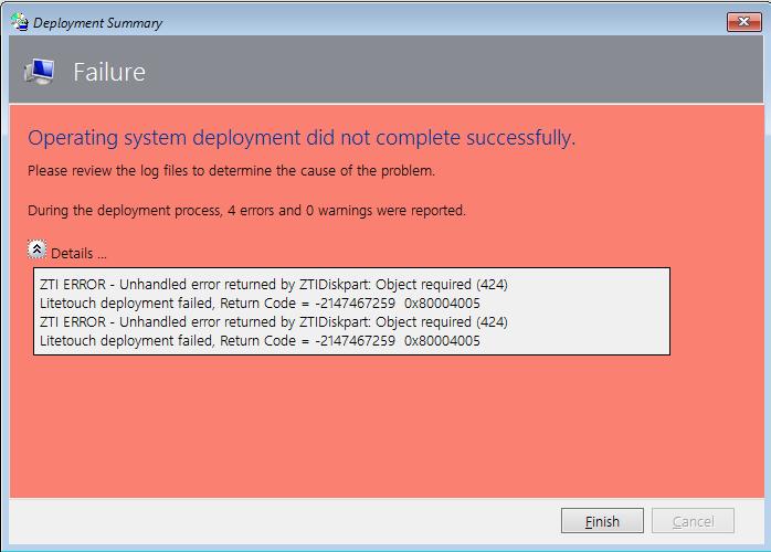 ZTIDiskPart error