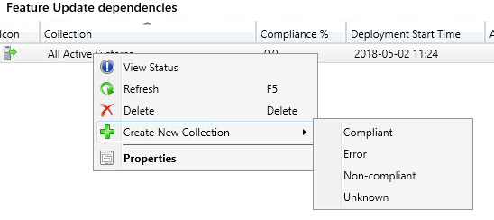 Showing where to create new collection from context menu