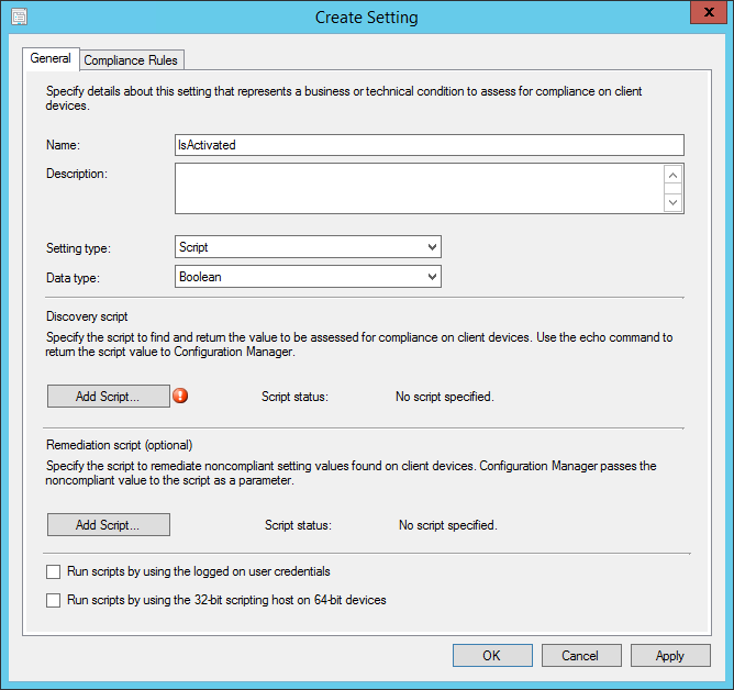 Create Configuration Item setting