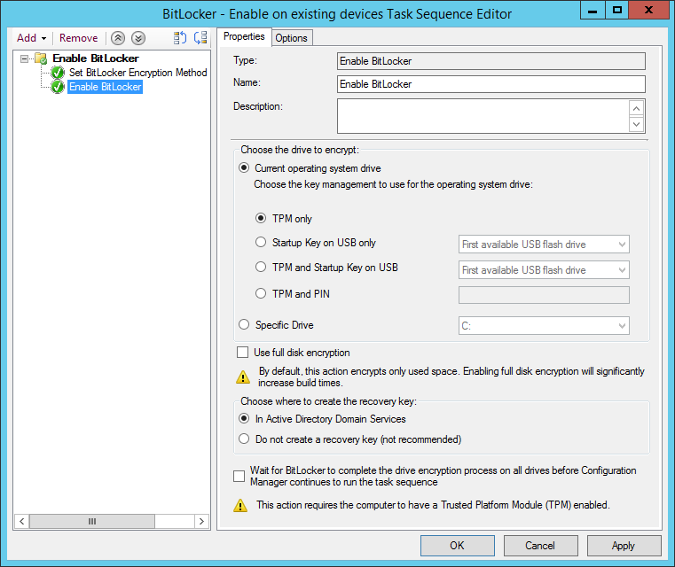 Configure the Enable BitLocker step