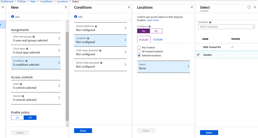 Example of where Named locations are used in Conditional Access