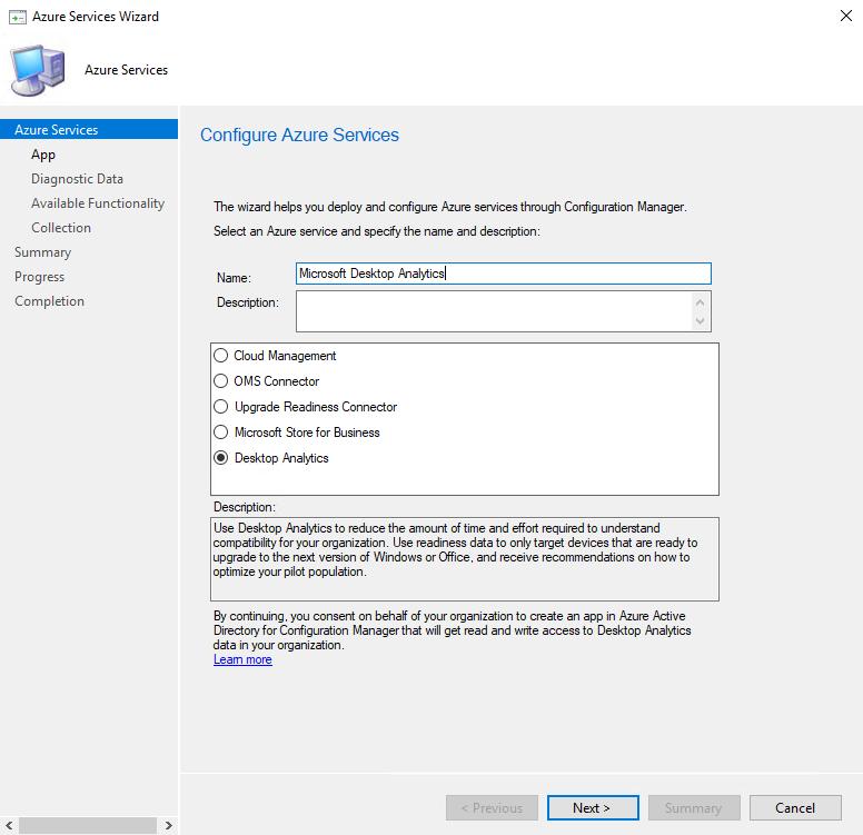 Enter Azure service name and select Desktop Analytics