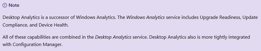 Desktop Analytics components.