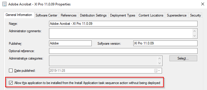 Application properties where autoinstall is enabled