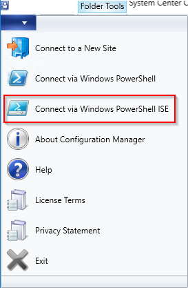 Image showing how to connect powershell to SCCM from the console
