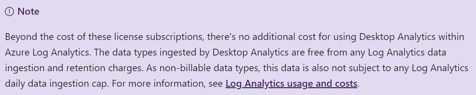 No additional costs for Desktop Analytics